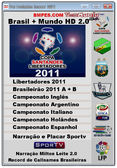 PES 2011 Patch Bmpes Brasil + Mundo HD 2.0